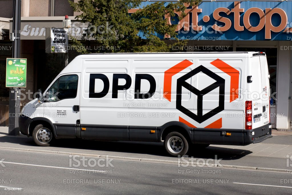 Delivery vehicle of german DPD in Frankfurt stock photo