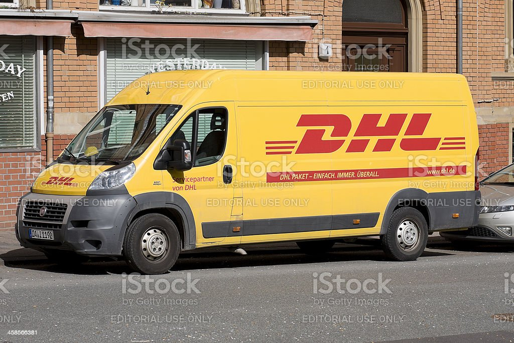 DHL Delivery vehicle royalty-free stock photo