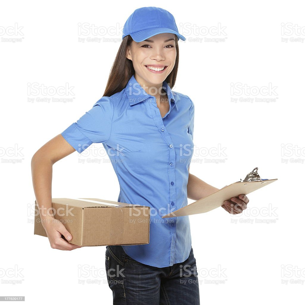 Delivery woman holding a package royalty-free stock photo