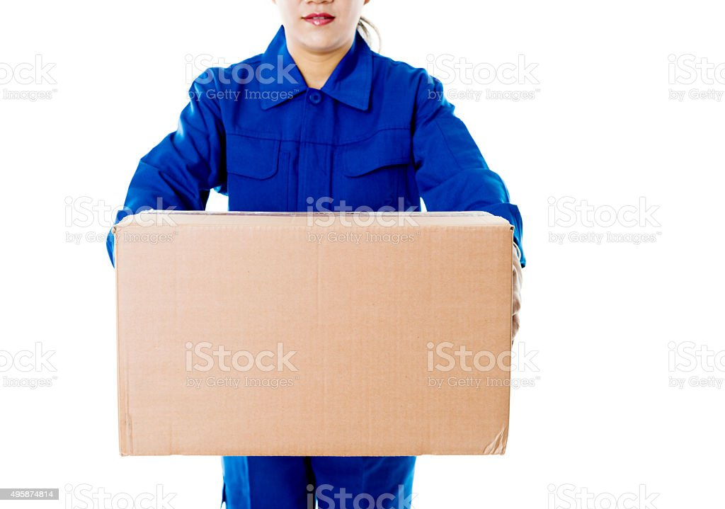 Delivery woman holding cardboard box stock photo