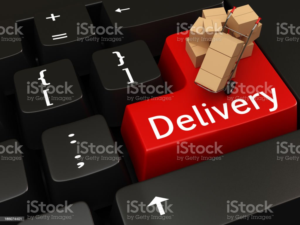 Delivery writing on Keyboard royalty-free stock photo
