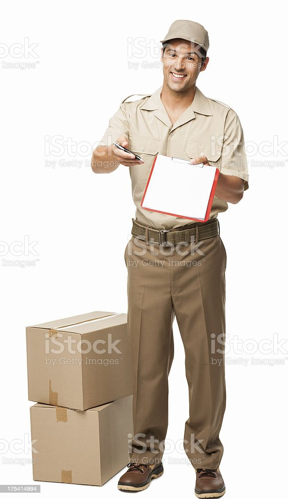 Deliveryman Asking For Your Signature - Isolated royalty-free stock photo