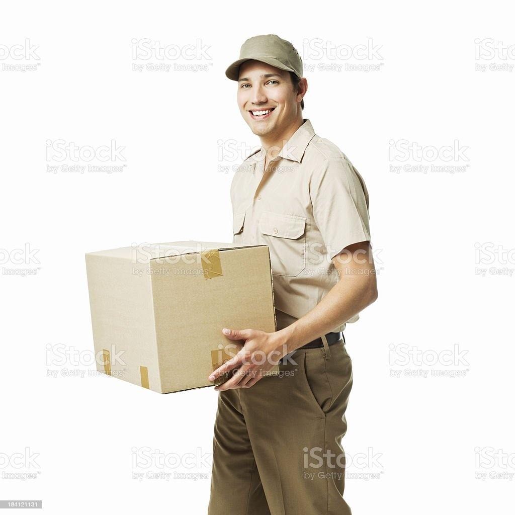 Deliveryman Carrying a Box - Isolated royalty-free stock photo