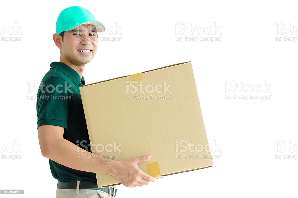 Deliveryman carrying a cardboard box stock photo