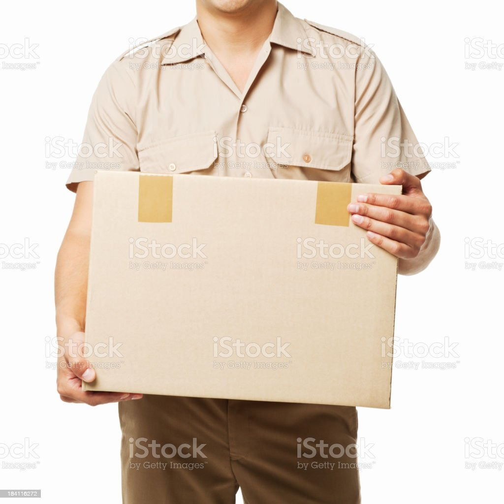 Deliveryman Holding a Package - Isolated royalty-free stock photo