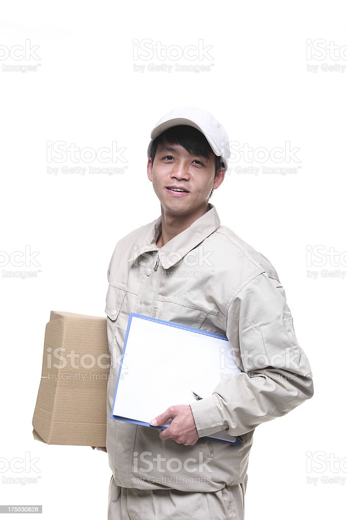 deliveryman with packages royalty-free stock photo