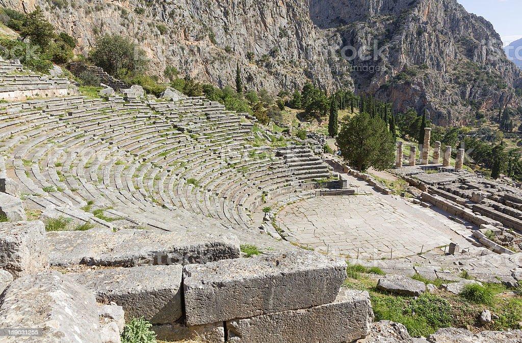 Delphi theater and Apollo temple, Greece stock photo