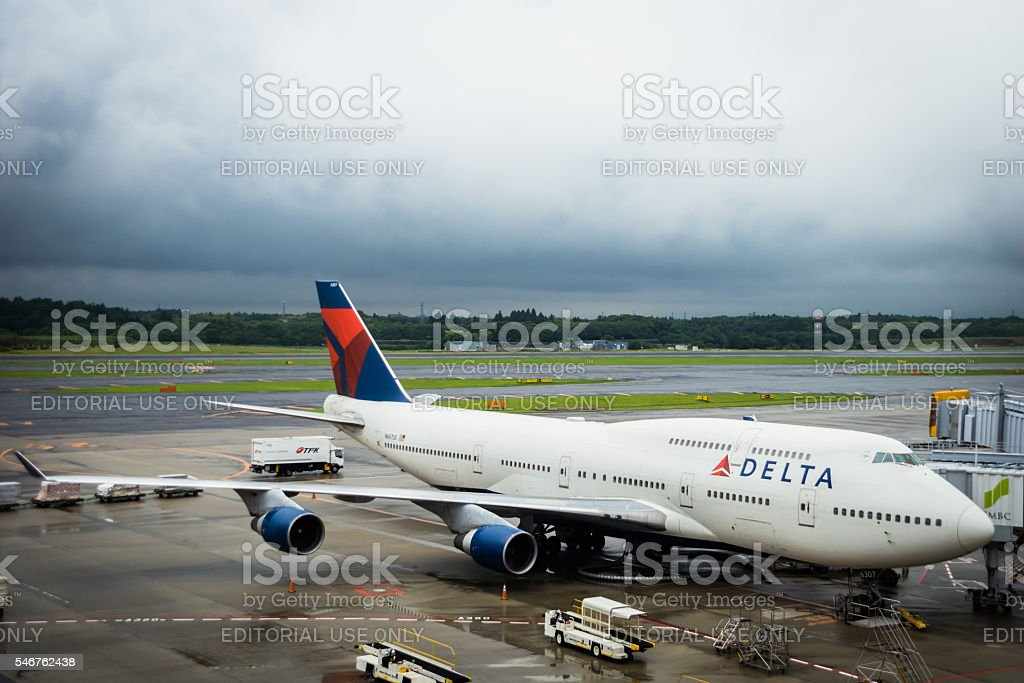 Delta Air Lines Boeing 747 at Narita International Airport, Japan stock photo