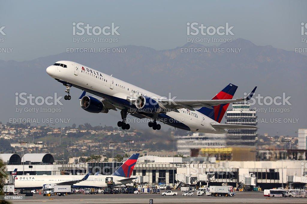 Delta Air Lines Boeing 757-200 airplane Los Angeles International stock photo