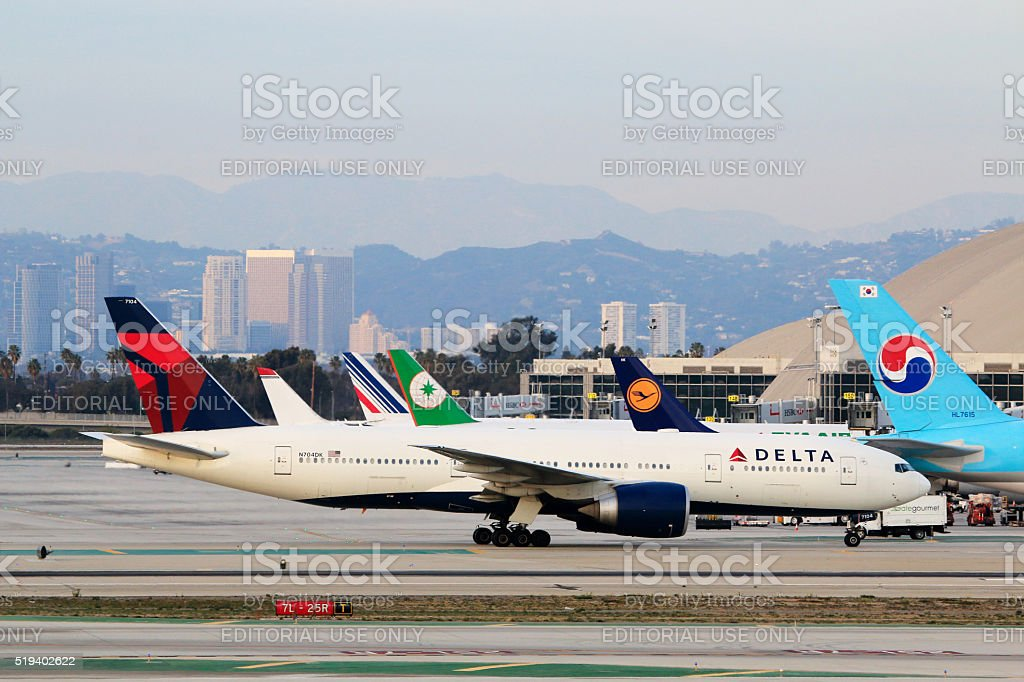 Delta Air Lines Boeing 777-200LR at LAX Airport stock photo
