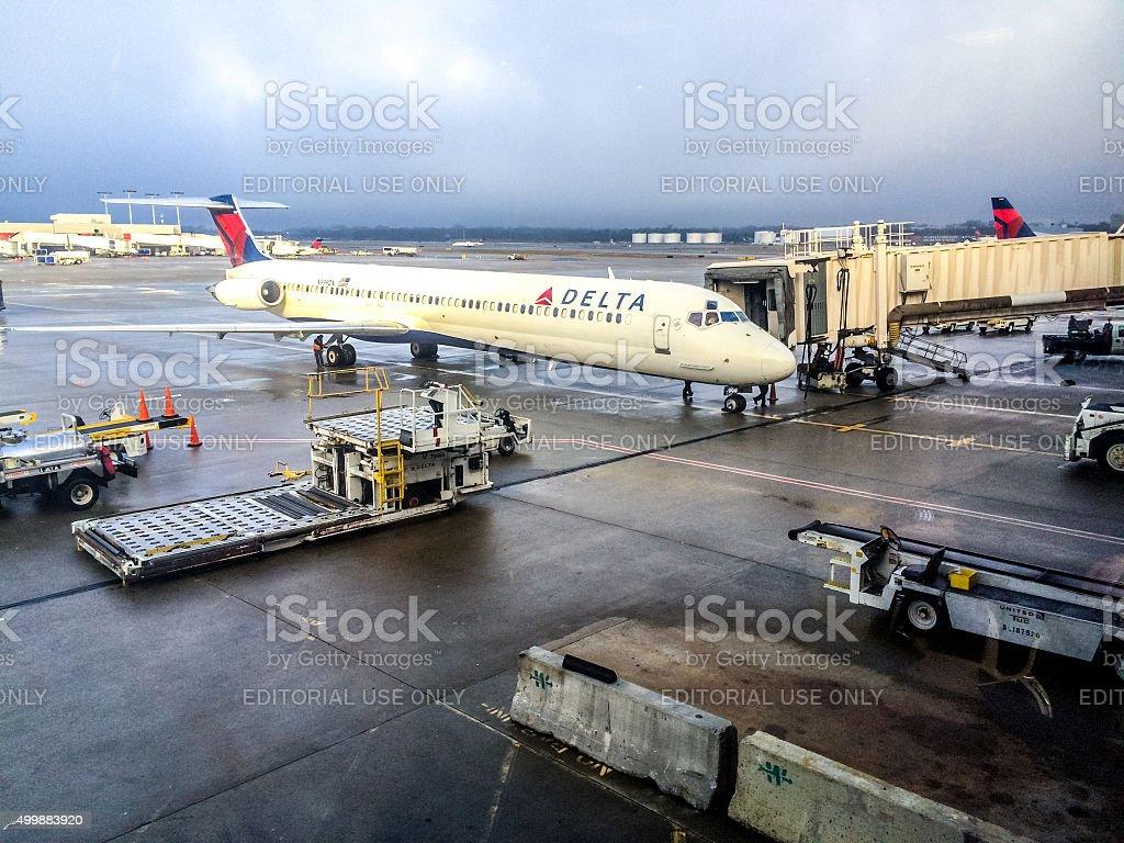 Delta Airlines Airplane at Atlanta Airport, USA stock photo