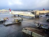 Delta Airlines Airplane at Atlanta Airport, USA