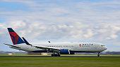 Delta Airlines Boeing 767 airplane landing