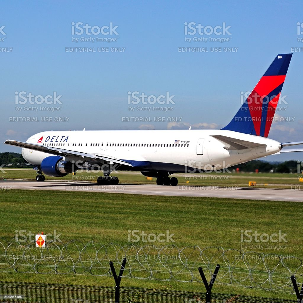 Delta Airlines Boeing 767 at Manchester airport. stock photo