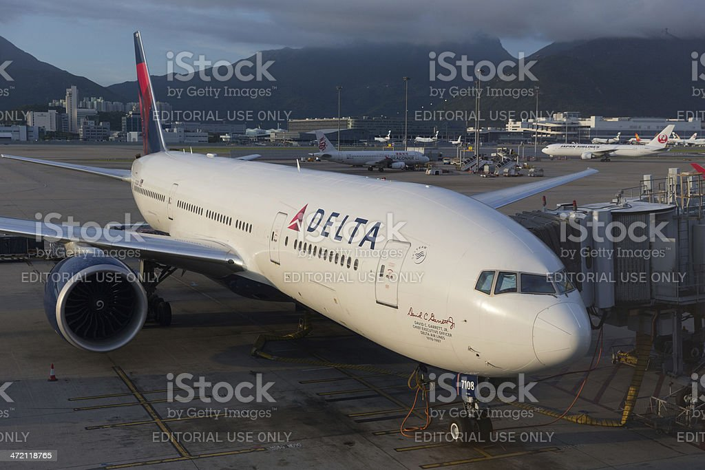 Delta Airlines Boeing 777 stock photo