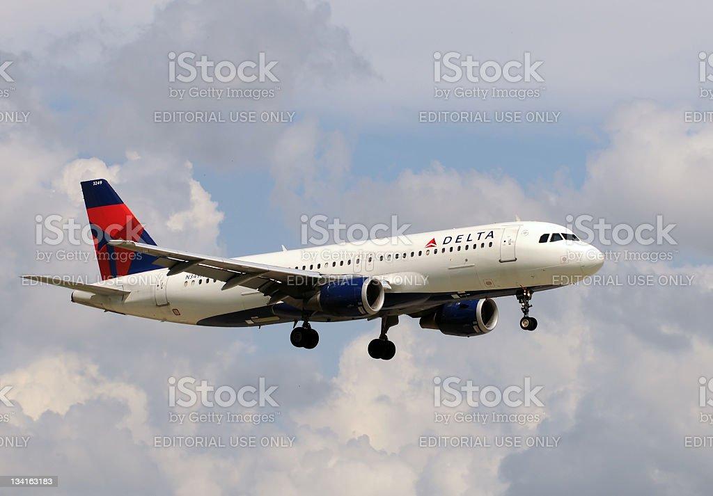 Delta airlines passenger airplane stock photo