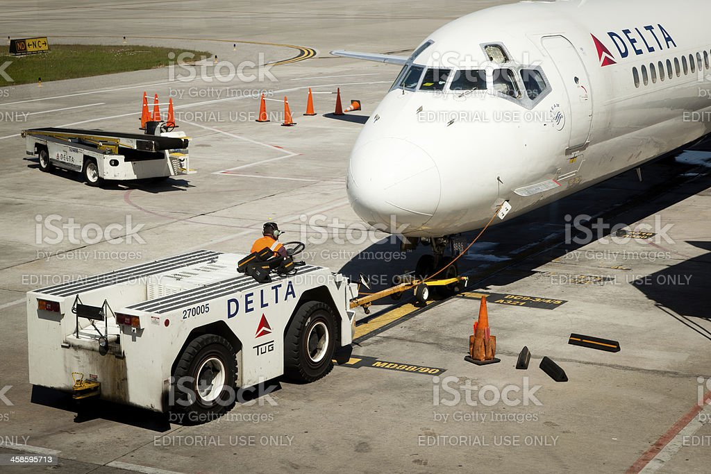 Delta airlines tow tug stock photo