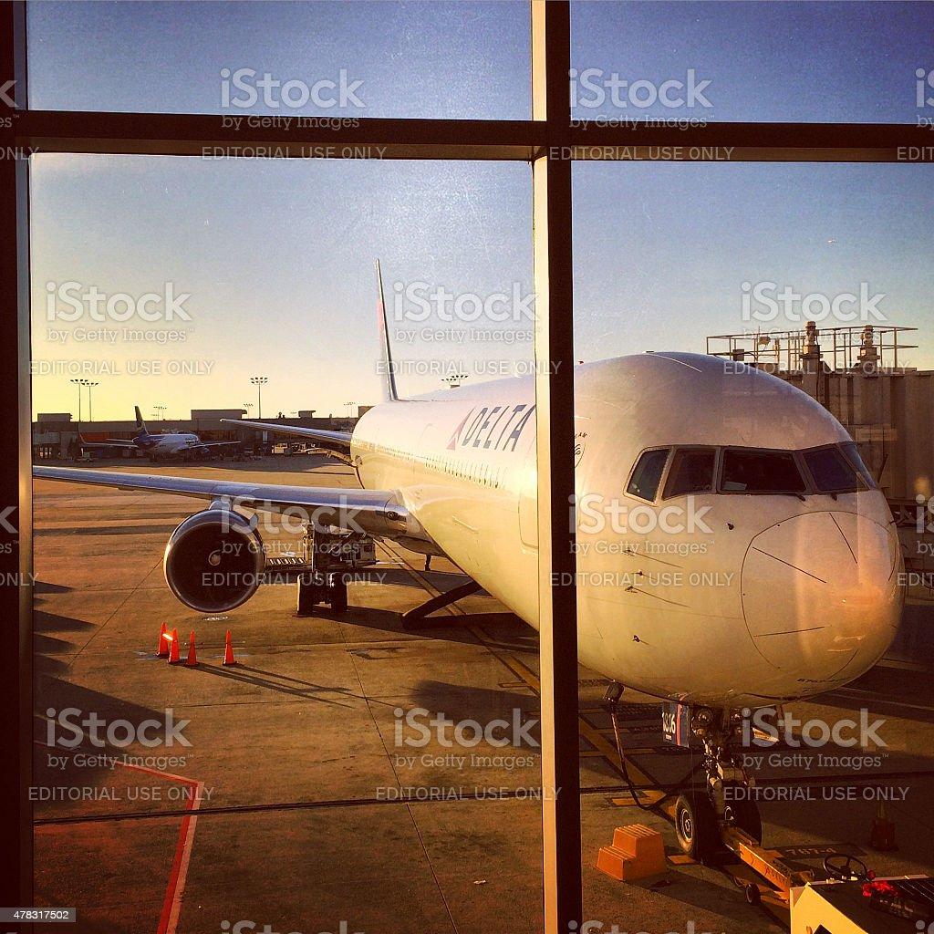 Delta Airplane at Atlanta Airport stock photo
