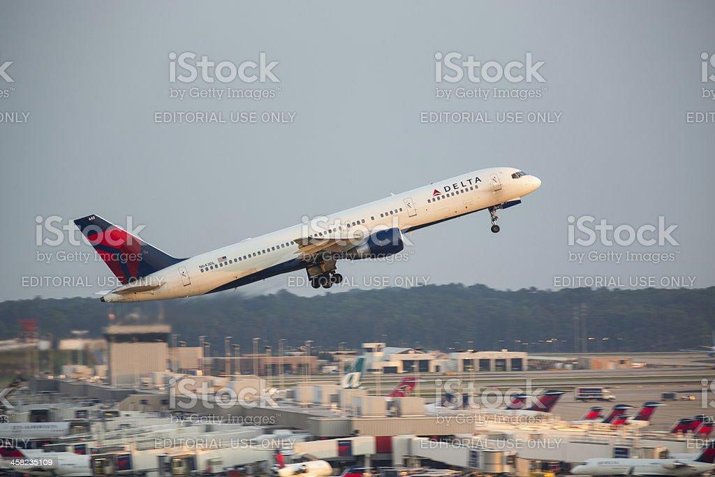 Delta Boeing 757 Flight Taking Off stock photo