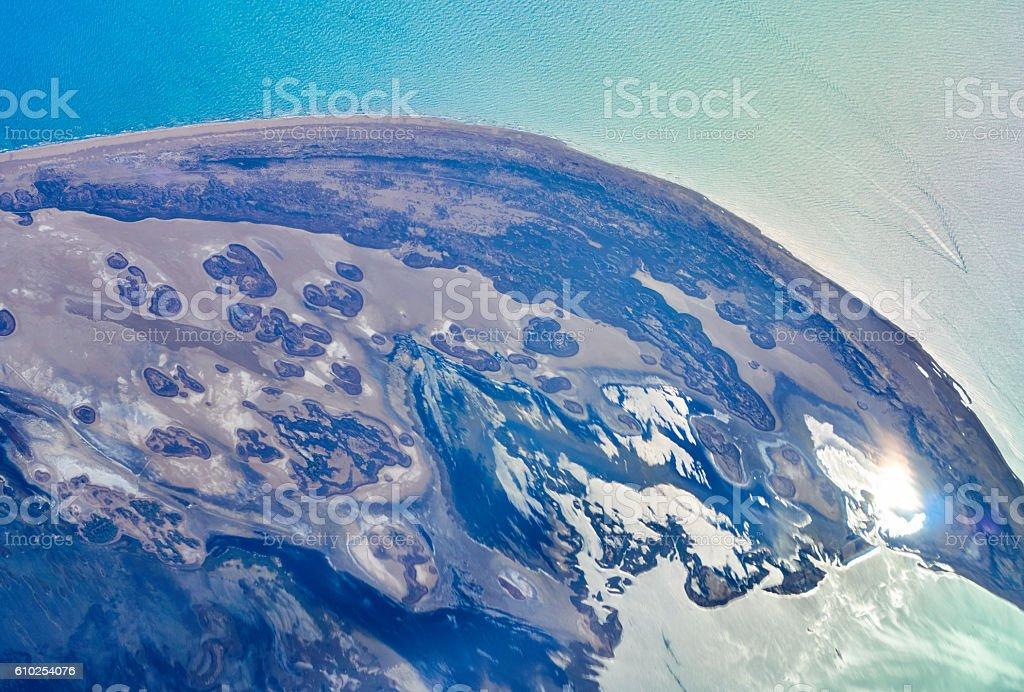 Delta del Ebro aerial views stock photo