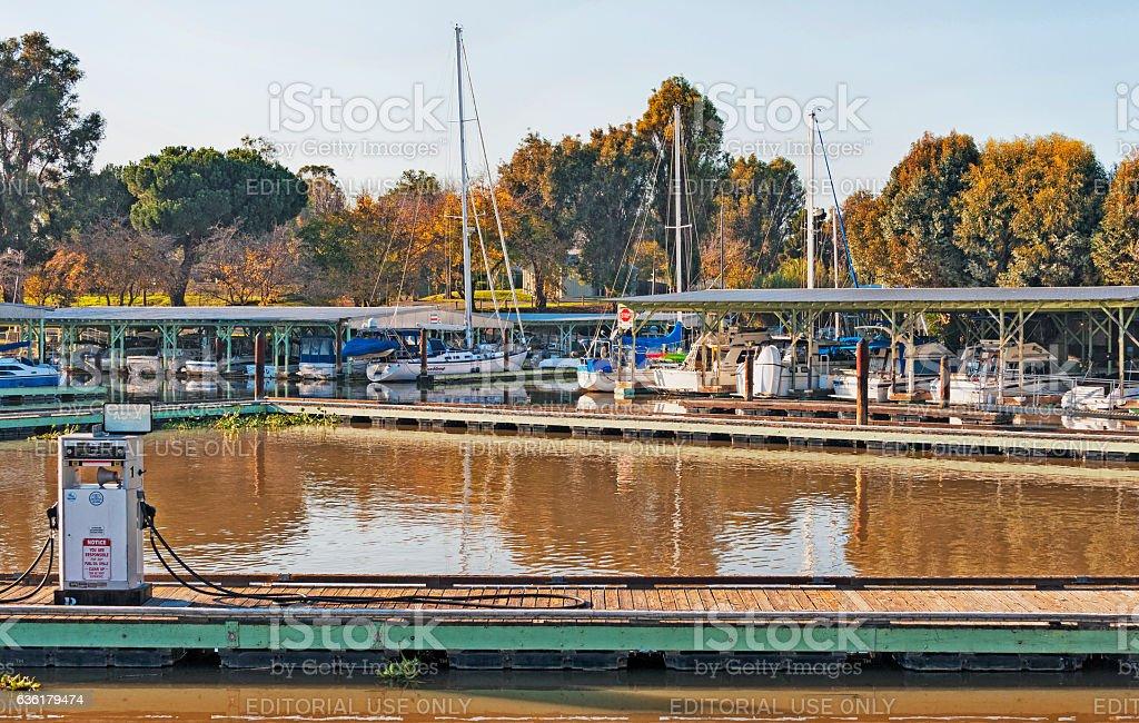 Delta Marina Docks and Gas Pump Rio Vista stock photo