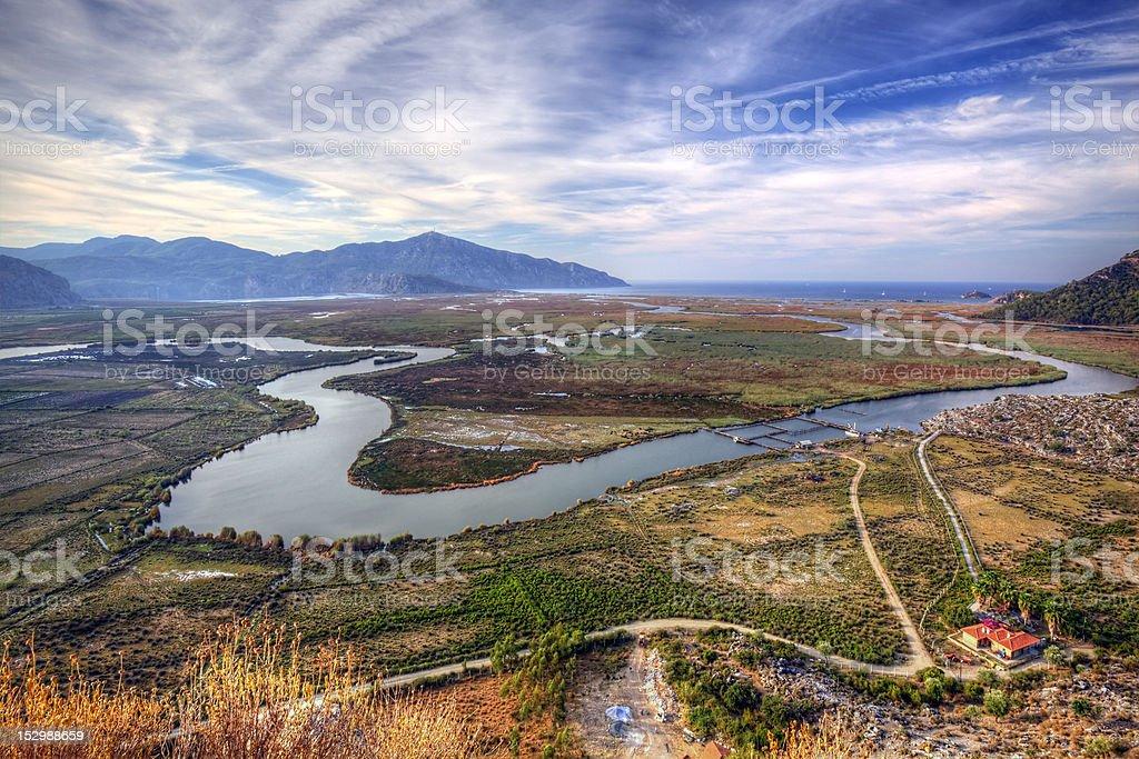 Delta of Dalyan river, Turkey stock photo