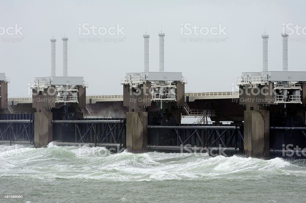 delta project in the netherlands on a stormy day stock photo