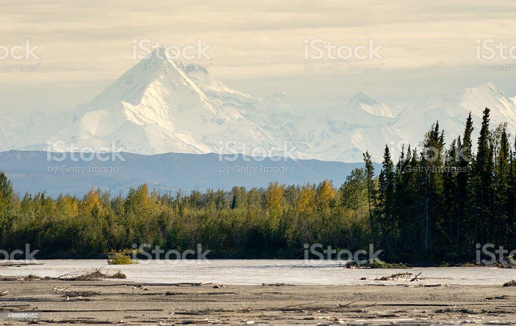 Delta River Overcast Skies Alaska Mountain Range Last Frontier stock photo