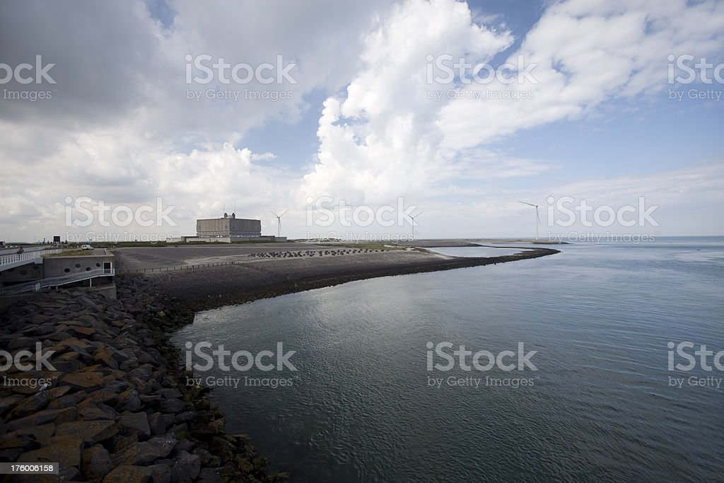 Deltaworks in southwest of the Netherlands stock photo