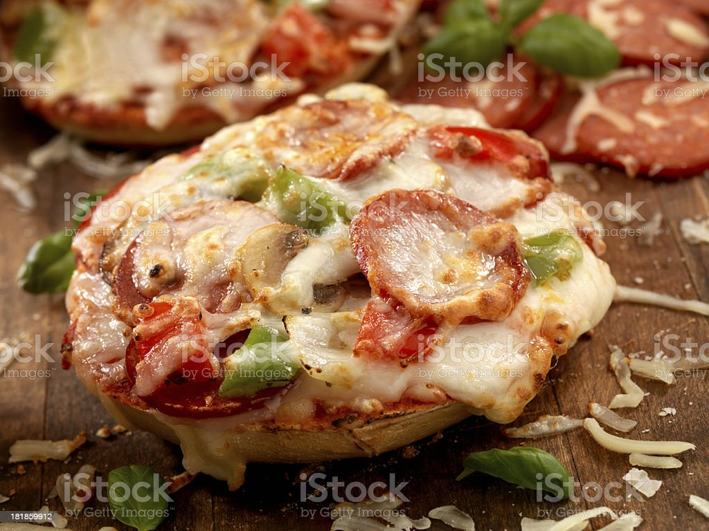 Deluxe Bagel Pizza's royalty-free stock photo