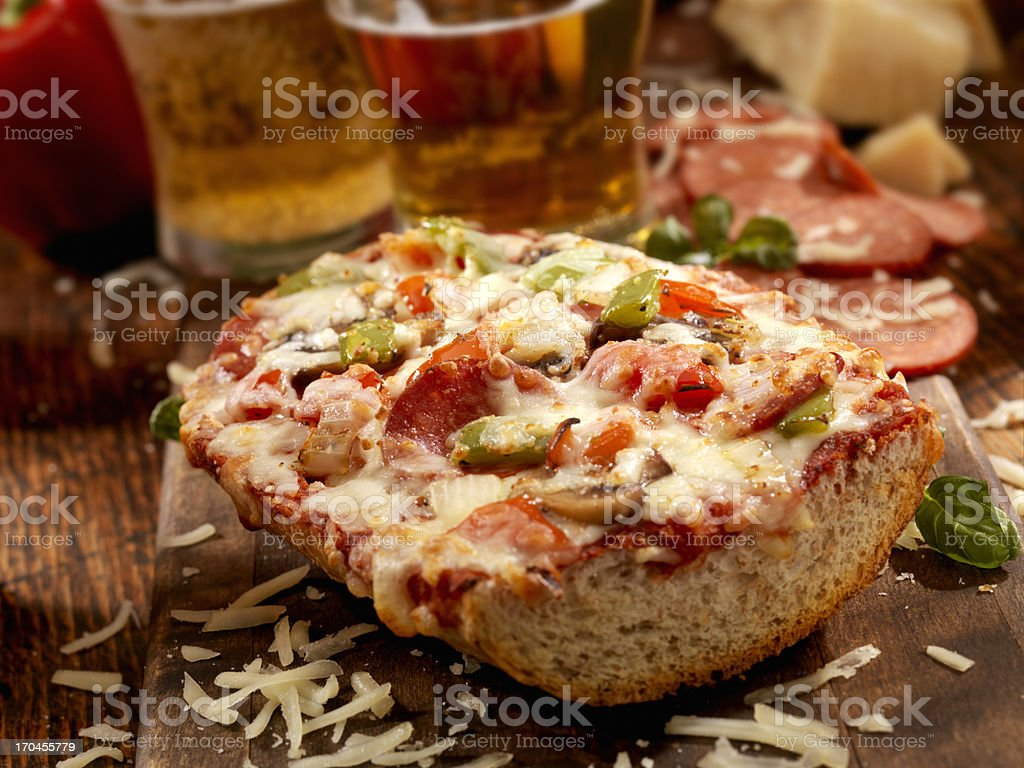 Deluxe French Bread Pizza royalty-free stock photo