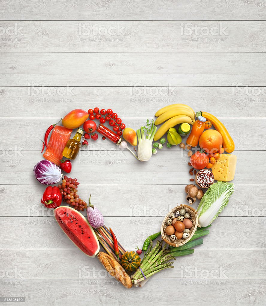 Deluxe Heart symbol in package made from different vegetables stock photo
