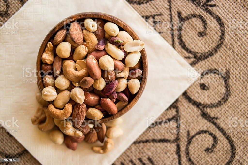 Deluxe Mixed Nuts, cashew, almond and peanuts. stock photo