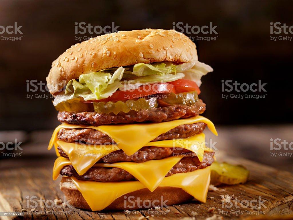 Deluxe Quadruple Cheeseburger stock photo