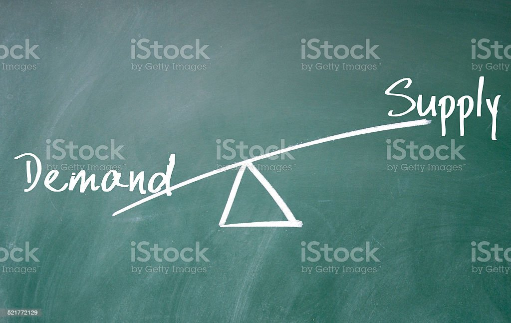 demand and supply concept stock photo