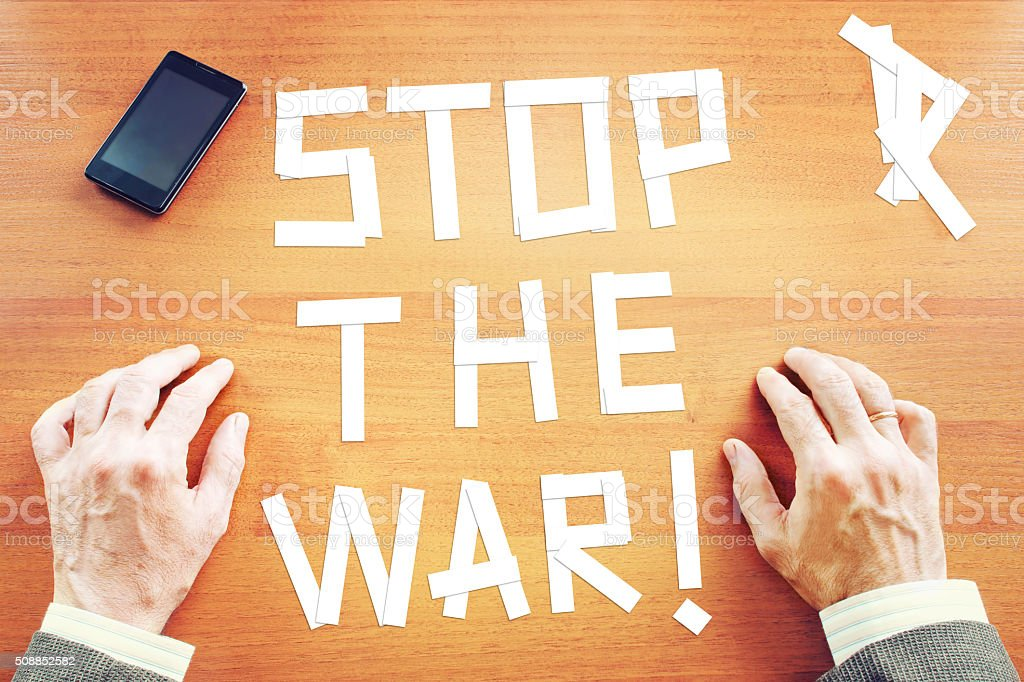 Demand to stop the war stock photo
