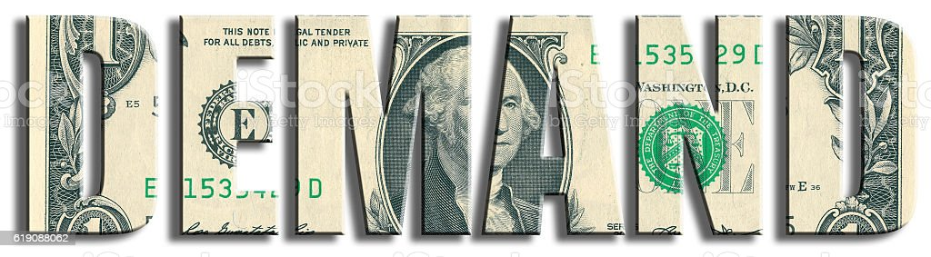 Demand. US Dollar texture. stock photo