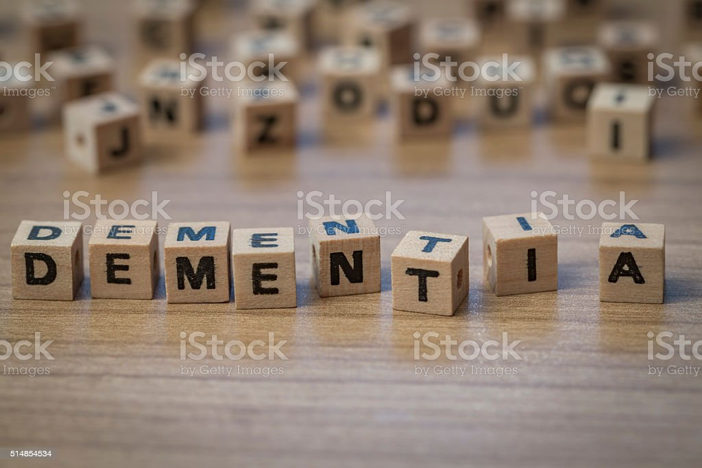 Dementia written in wooden cubes stock photo