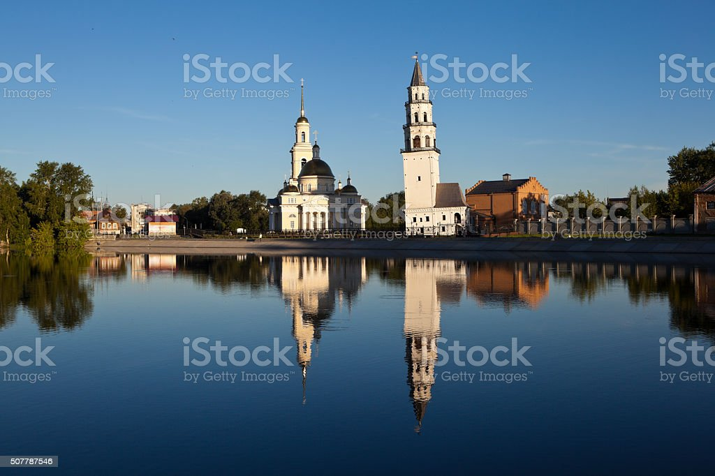 Demidov inclined tower and the Spaso-Preobrazhensky Cathedral. Nevyansk. Russia. stock photo
