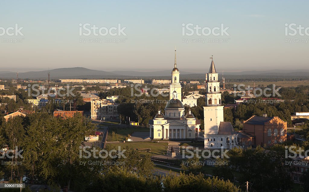 Demidov inclined tower and the Transfiguration Cathedral. Nevyansk. stock photo