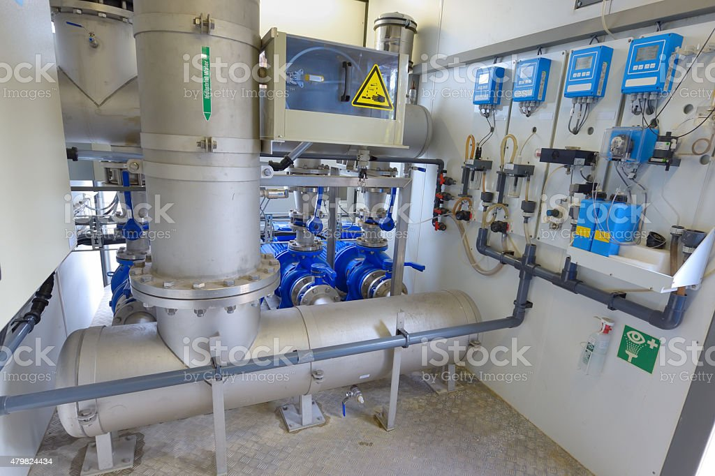 Demineralized water treatment stock photo