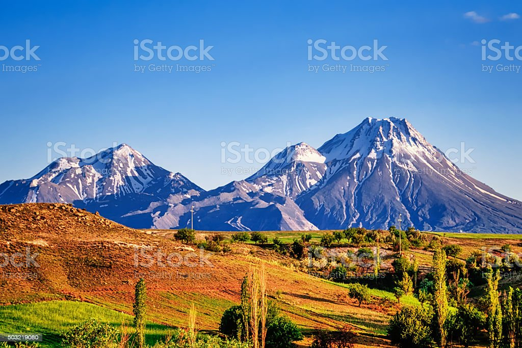 Demirkazik summit located in Nigde Aladaglar Turkey stock photo