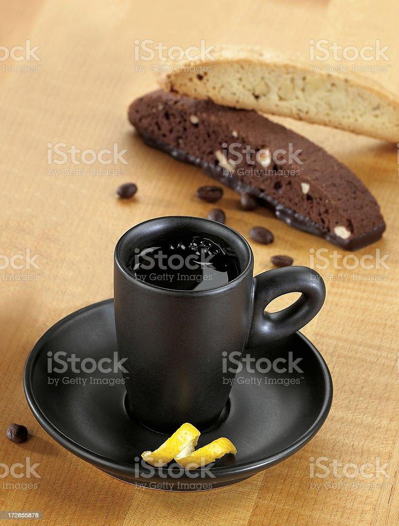 Demitasse with biscotti stock photo