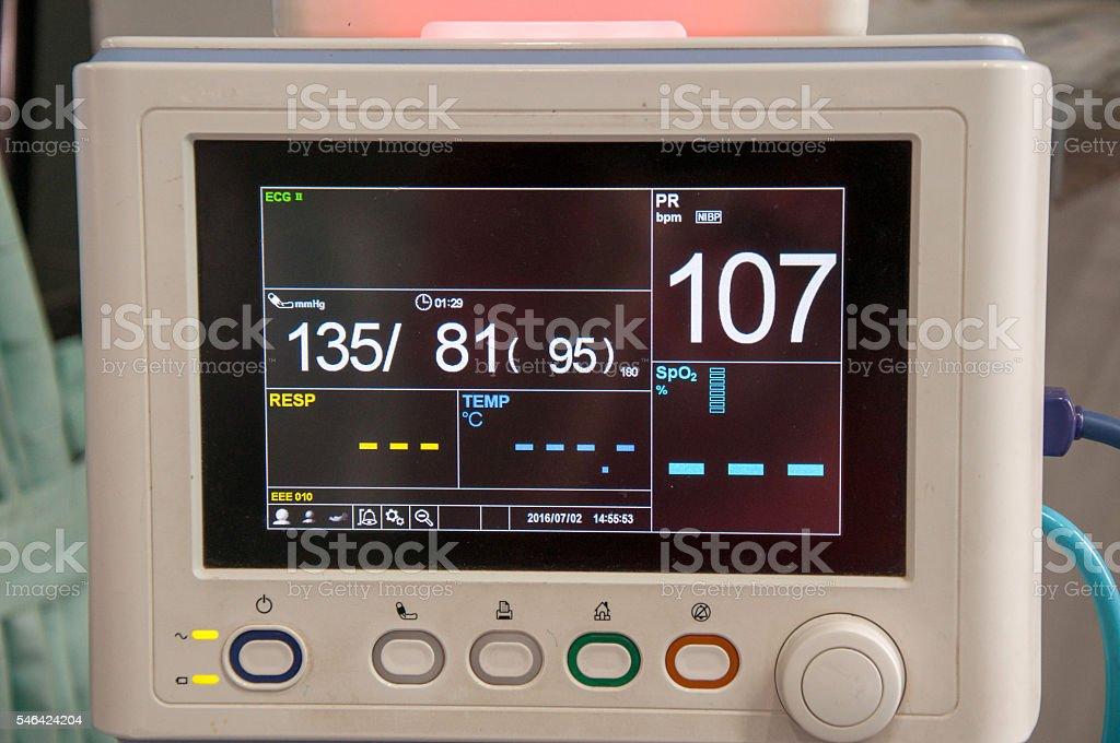 Demo screen display of monitor equipment. stock photo