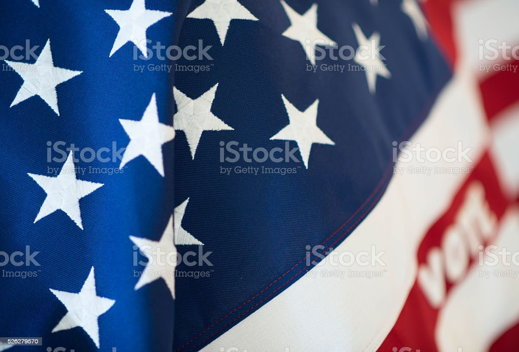 VOTE - Democracy and American Flag close up stock photo