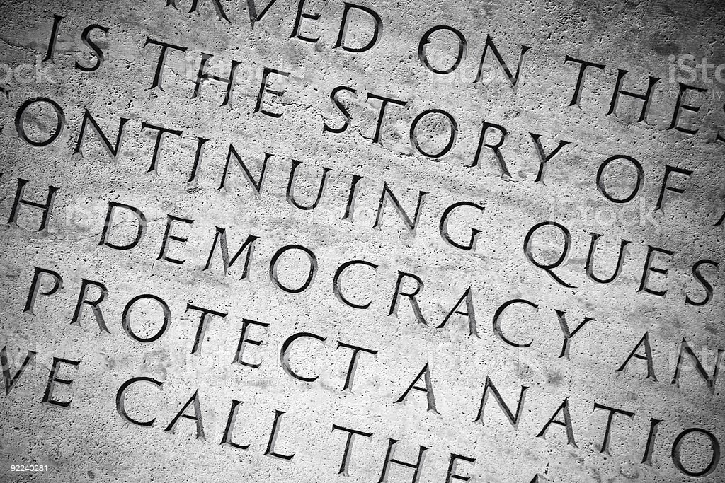 Democracy Etched In Stone royalty-free stock photo