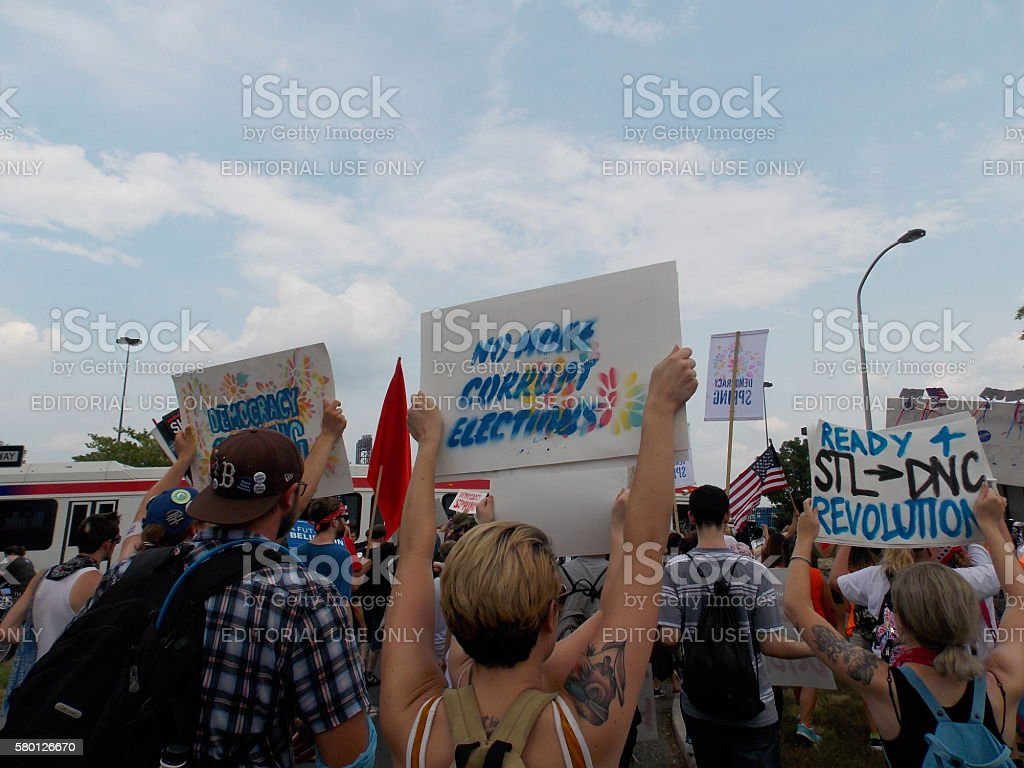 Democracy Spring Protest Against Corrupt Elections at DNC stock photo