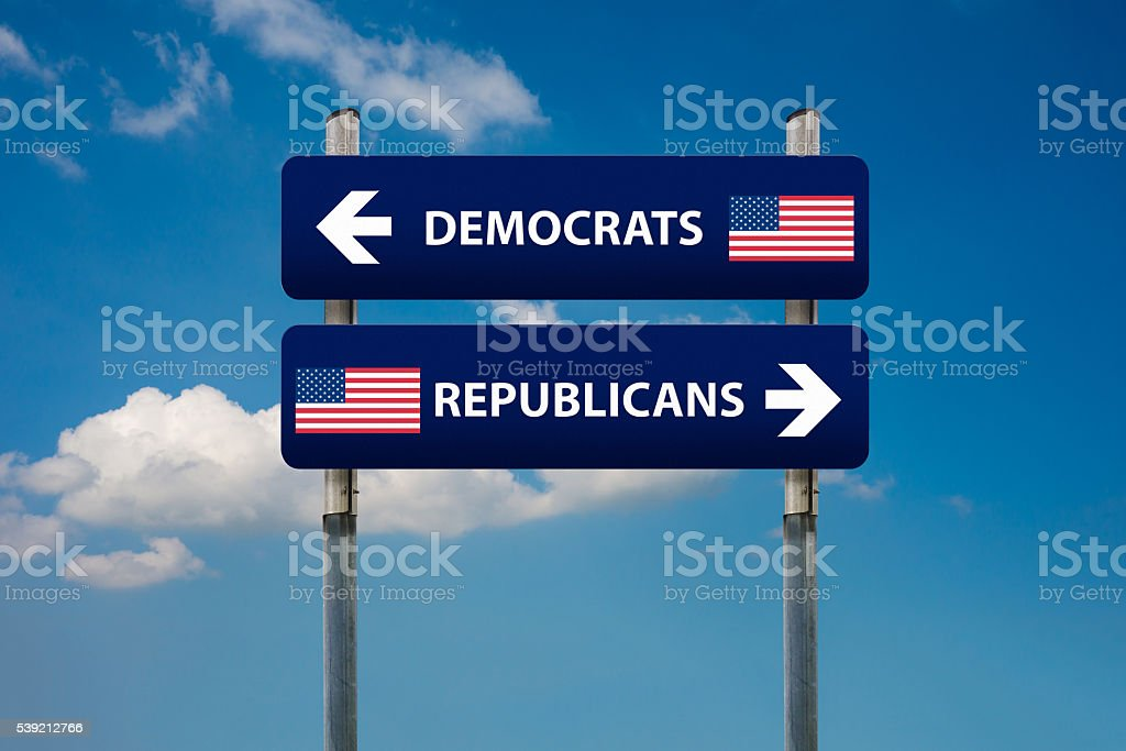 democrat and republican concepts in american election stock photo