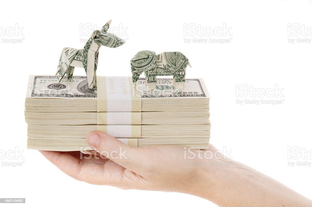 Democrat and republican finances stock photo