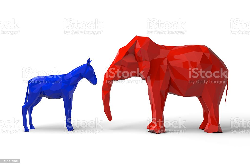 Democrat and republican party symbols stock photo